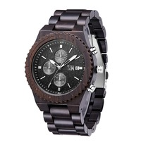 TJW new multi function all wood men's watch alloy bottom cover deep waterproof