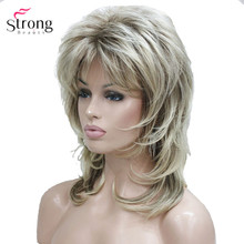 Lady Women Blonde With Dark Root Medium Length Cascaded Layers Synthetic Hair Full Wig