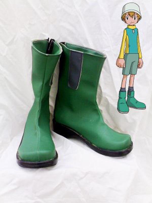 Digimon Adventure Takeru Takaishi Green Cosplay Shoes Boots For Adult Men's Halloween Party Cosplay Boots Custom Made