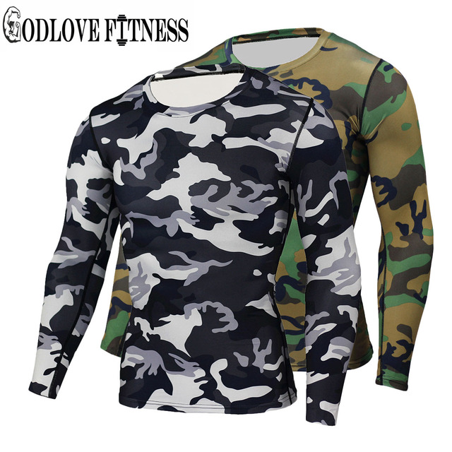 122040f7f47b4 New High Quality Camouflage Military Compression T Shirt Tights Fitness Men  Quick Dry Camo Long Sleeve T Shirts Crossfit Shirts