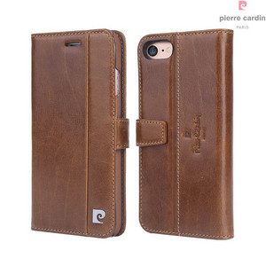 Image 4 - Pierre Cardin Brand For Apple iPhone 8 7 Plus Phone Case Genuine Leather Magnetic Book Style Flip Stand Wallet Card Holder Cover