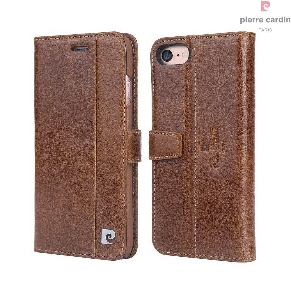 Pierre Cardin Marque Pour Apple iPhone 8 7 Plus coque de téléphone En Cuir Véritable De Style Livre Magnétique Étui Portefeuille porte-carte Couverture - 4