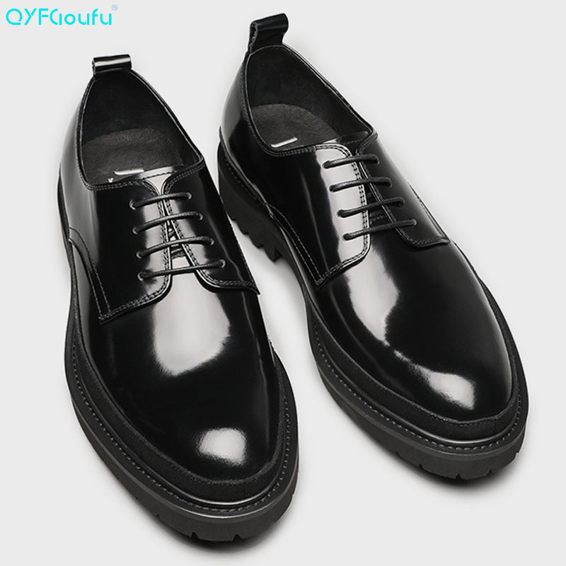 QYFCIOUFU High Quality Patent Leather Pointed Toe Business Casual Men Dress Shoes Lace-up Genuine Prom And Wedding