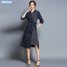 Women Irregular Dresses 2018 Long Casual Sundress Loose Autumn Winter Printed Dress Turn-down Collar 3/4 Sleeve Midi Dress Femme fashion autumn women shirt dress casual irregular short dress belt turn down collar 3 4 sleeve vintage sexy mini shift dresses