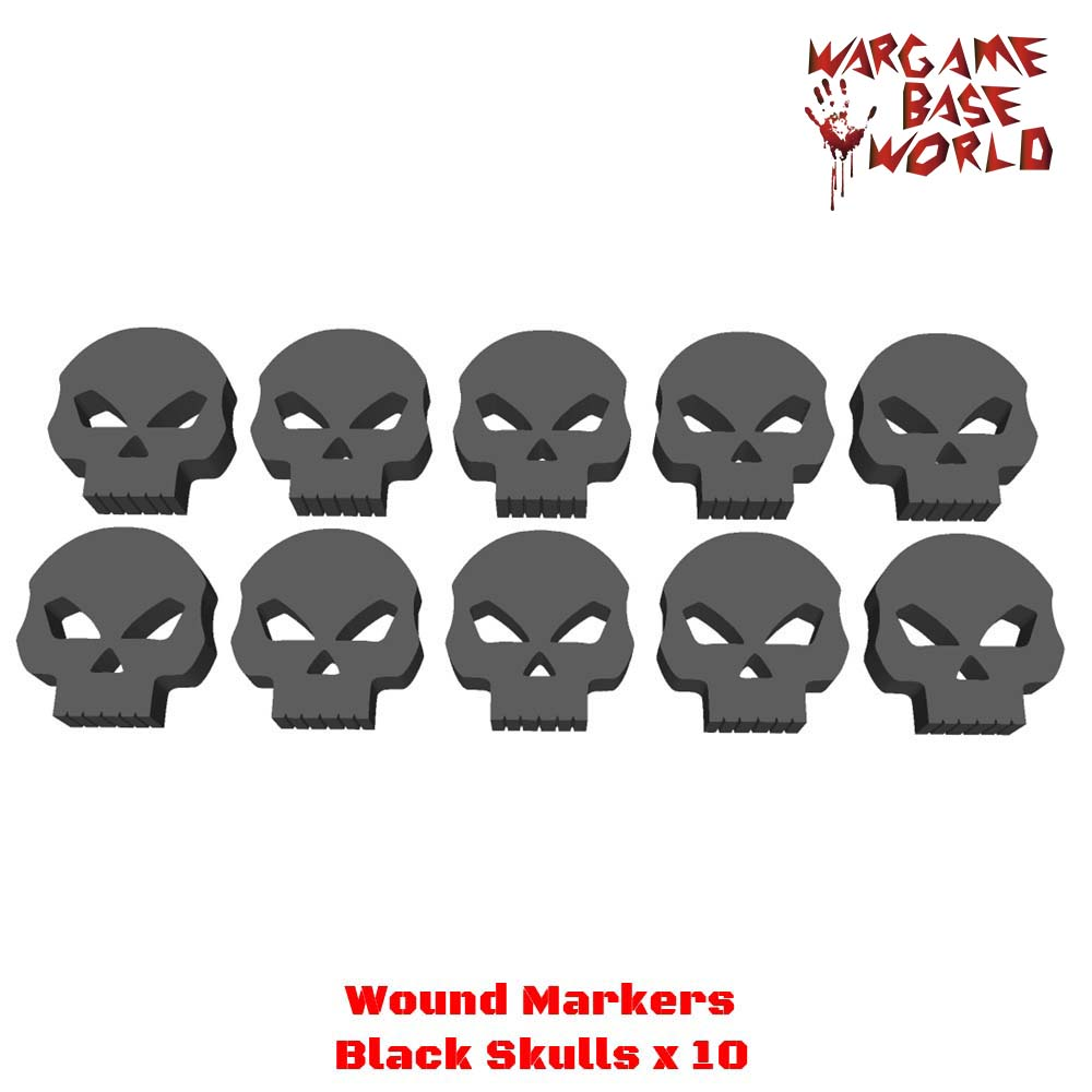 Wargame Base World - Wound Markers - Black Acrylic Skulls exit wound