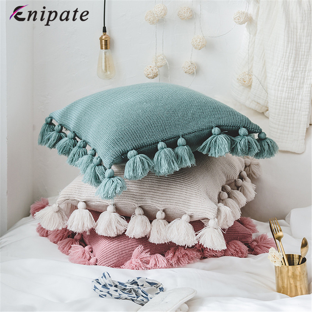 Enipate 1 PC Knitted Ball Tassel Cushion Cover Acrylic Cotton Solid Color COVER Home Sofa Bed Chair Car Home Textile Decorative