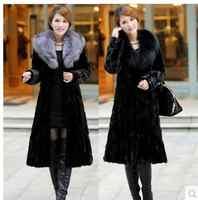 Femmes hiver et automne grande taille noir Faux renard manteaux de fourrure longue Section Turn Down col artificiel fourrure pardessus vêtements K132