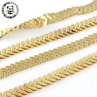 4 Style Jewelry Necklace Bracelet Making Iron Leaf Links Chains, Soldered, Golden