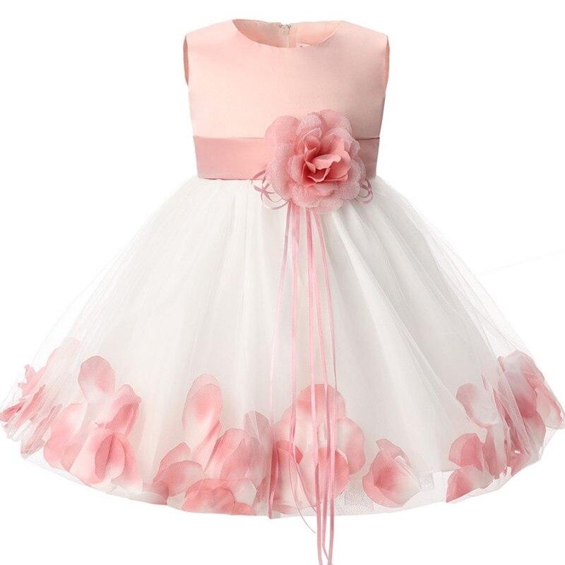 Summer Baby Girl Dress for Baptism Christening First Birthday Wedding Tutu Flower Dress with Bow Newborn Clothes Toddler Vestido