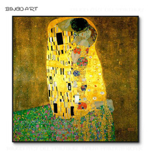 Professional Artist Hand-painted Top Quality Gustav Klimt Kiss Oil Painting on Canvas Reproduce Famous Artwork