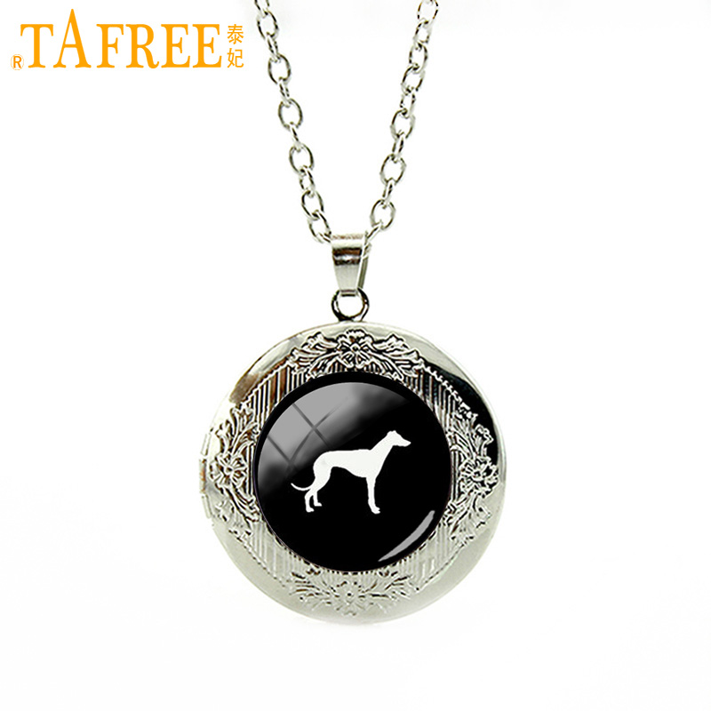 TAFREE cute animal picture locket necklace Greyhound Dog pendant pet dog statement necklace Pleut Gift men women jewelry T413