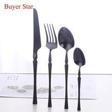 4PCS Standing Dinnerware Set 304 Stainless Steel Black Cutlery Slim Waists Knife Fork Tableware Cutleries Western Food