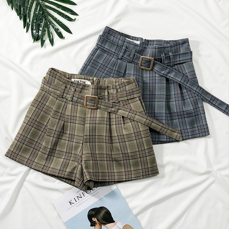 Vintage Plaid Casual   Shorts   Female Autumn Winter 2018 High Waist Sashes Slim Wide Leg   Shorts   Ladies A-line Women   Shorts