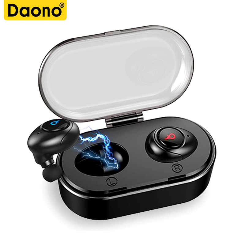 DAONO Mini TWS Bluetooth Earphone True Wireless Stereo Earbud Bluetooth Headset noise cancelling Portable with charging box