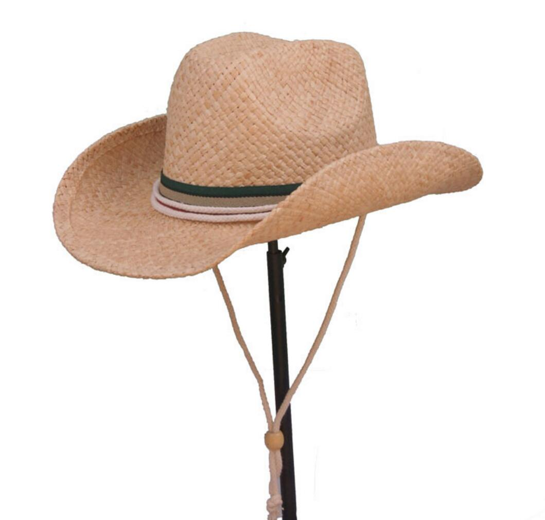 Wholesale 12pcs Lot Brand Mens Cowboys Straw Hat Style Men Western Caps  Wide Brim Straw Hats Nice Womens Cowgirl Summer Sun Cap-in Cowboy Hats from  Apparel ... e8bf4ab2803