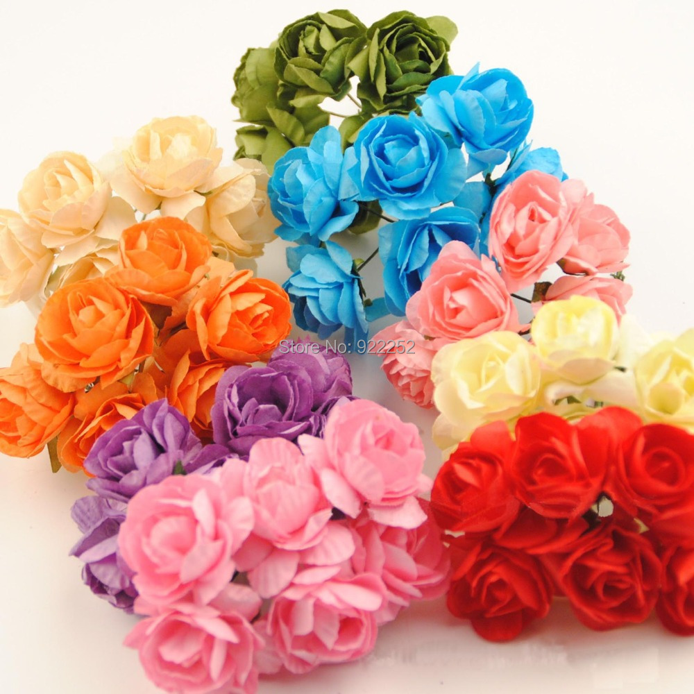 25cm Artificial Mulberry Paper Flower Mini Rosas Bouquetdiy Craft