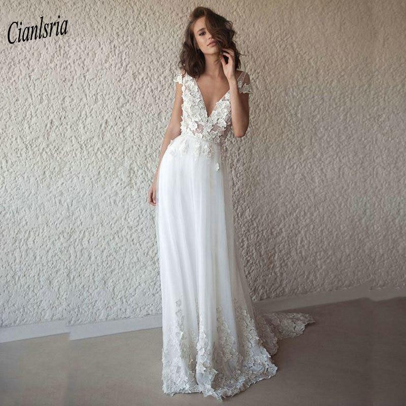 Sexy Deep V-Neck Backless Boho Bohemian Wedding Dress 2019 Appliques Lace Cap Sleeve Long Bridal Wedding Dresses Robe De Mariee