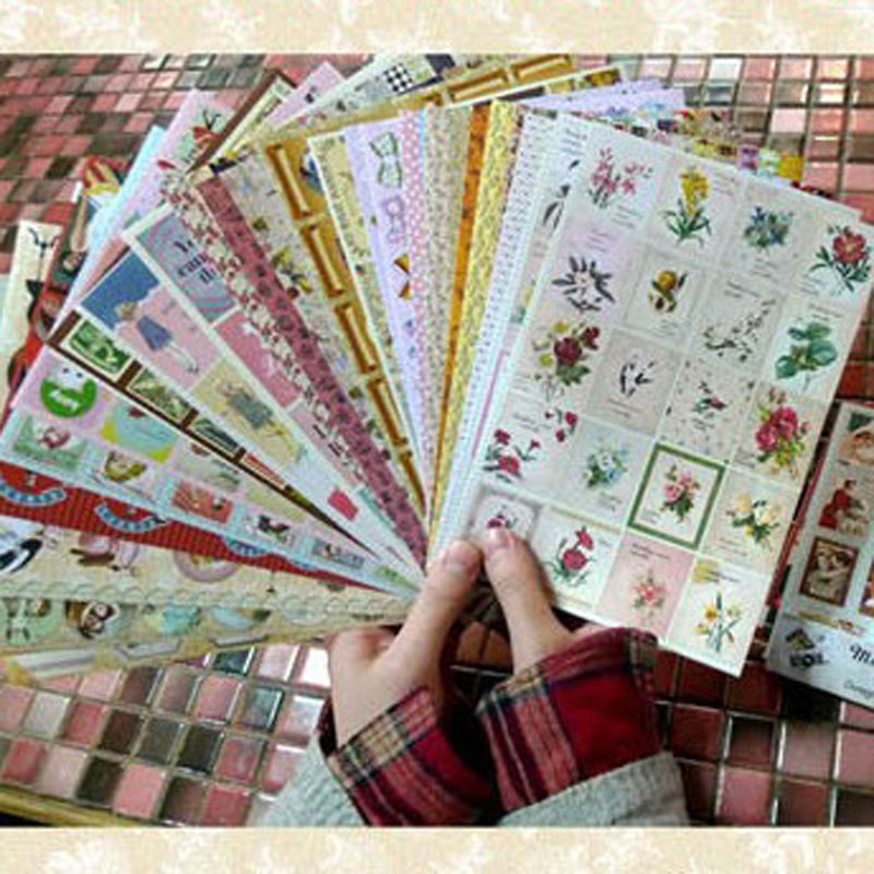 24sheets Retro Style Creative Design Seal Stickers For DIY Diary Notebook Album Scrapbooking Decoration