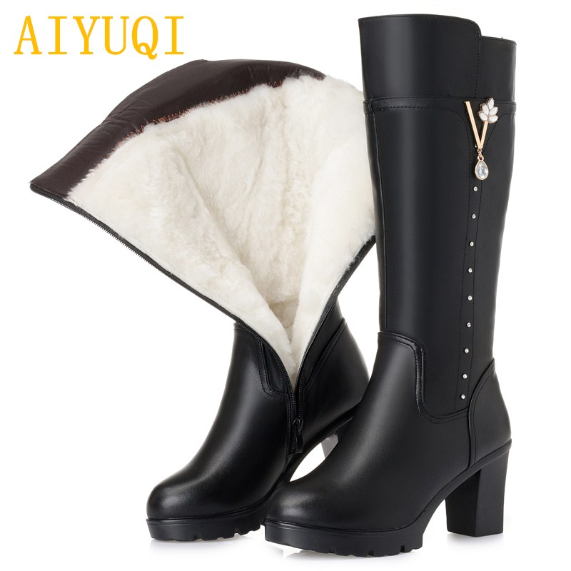 Big size women Martin boots 2018 new genuine leather women winter boots high-heeled , natural wool women motorcycle boots 2017 new women s genuine leather boots motorcycle boots rough with in tube high heeled boots thick wool really pima ding