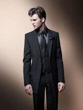 Fashion Style One Button Black Groom Tuxedos Groomsmen Men's Wedding Prom Suits Bridegroom (Jacket+Pants+Vest+Tie) K:545