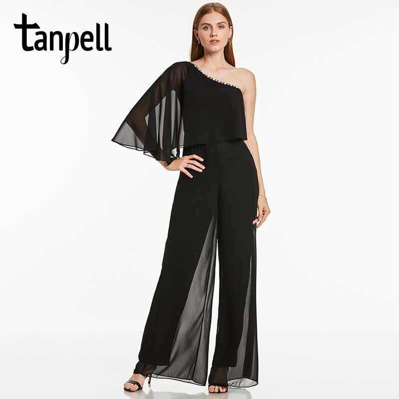 Tanpell one shoulder   evening     dress   sexy black a line floor length   dress   women beaded chiffon long backless jumpsuit   evening   gown
