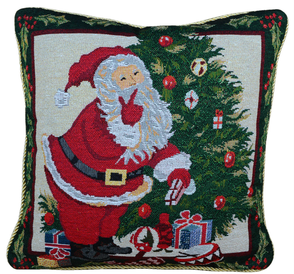 Christmas dyed cotton jacquard by pillowcase / pillow cover / cushion cover / Santa F ...