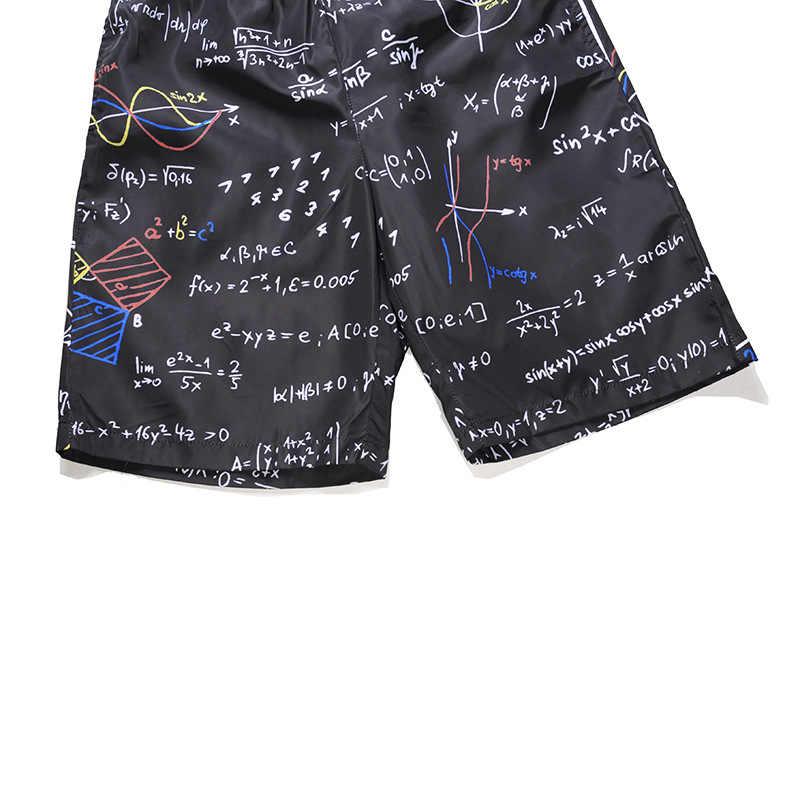 Летние быстросохнущие пляжные шорты-боксеры с 3D буквенным принтом, модные брендовые мужские пляжные шорты 2018, повседневные мужские шорты в стиле хип-хоп