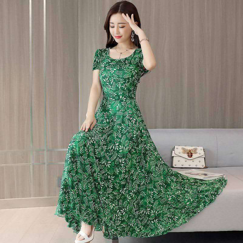 Casual Green Boho Beach Dress Women Summer Floral Print O-Neck Big Swing Short Sleeve Slim Party Dresses Vestidos DF2486