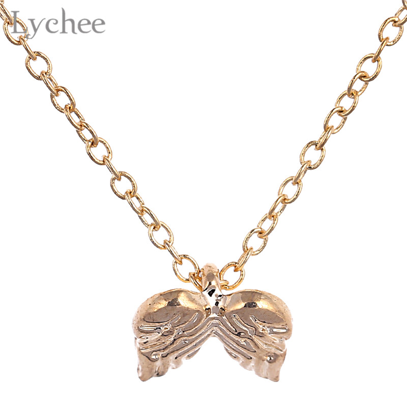 Lychee Trendy Alloy Guardian Angel Wings Women Necklace Link Chain Gold Color Silver Color Female Necklace Jewelry