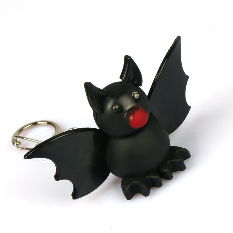 New products LED bats sound luminous key chain ring pendant creative Halloween gift toys for children wholesale