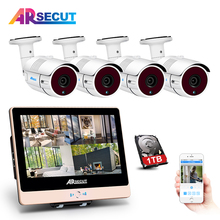 New List! 1080P HD Outdoor+Home Waterproof IR POE CCTV Camera Kit 12Inch'LCD 4CH POE Video Surveillance System&+1TBHDD MobileAPP