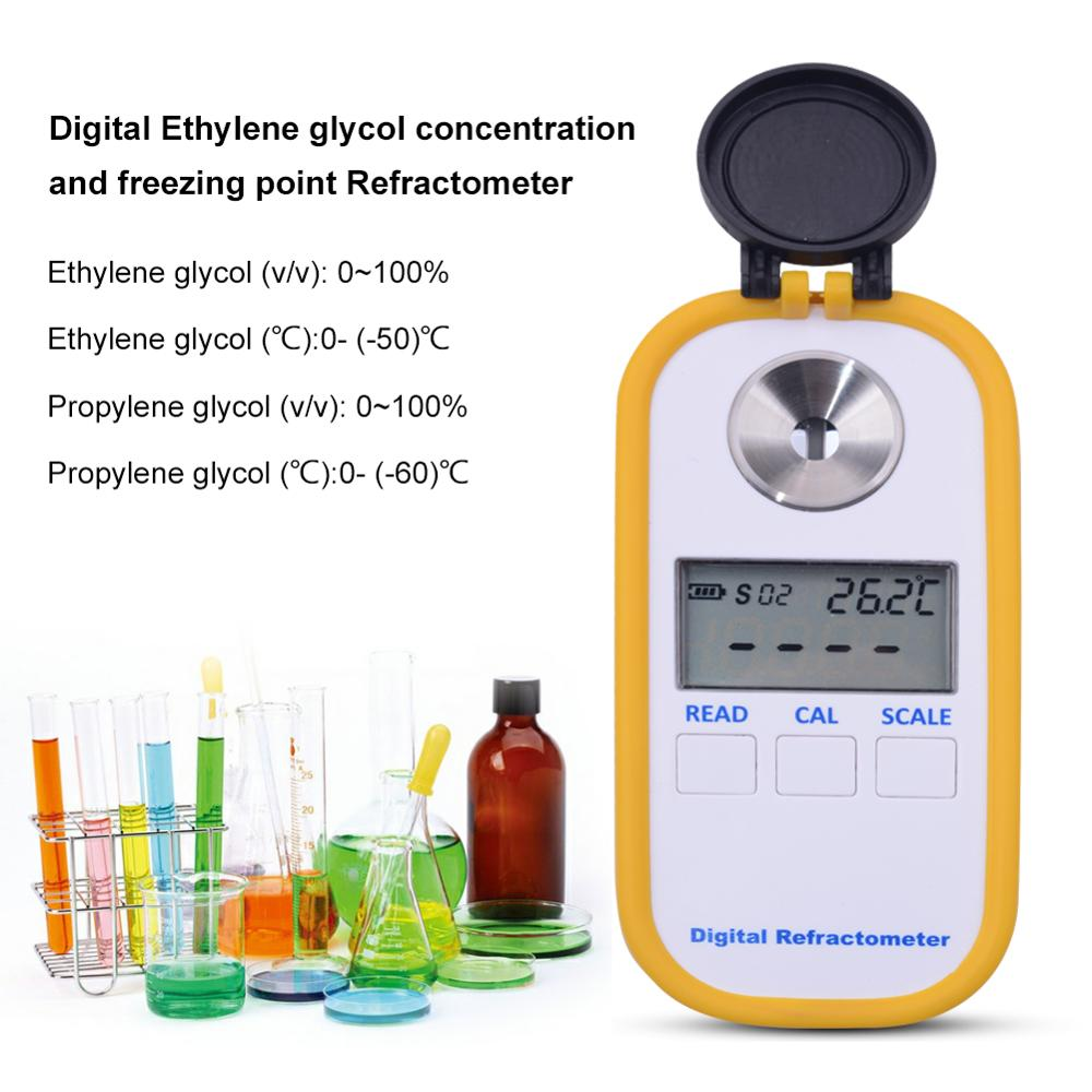 Yieryi New Digital Refractometer Engine Coolant Tester 0 100 Ethylene Glycol v Propylene Glycol v Measuring