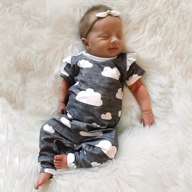 2018 Baby Clothes Short Sleeve Funny Cute Clouds   Romper   Tiny Cottons Newborn Girl Jumpsuit   Rompers   Baby Onesie Plasuit Costume