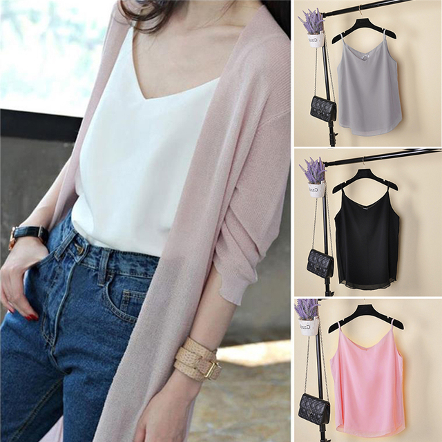 2017 New Summer Sleeveless Shirt Sexy V-neck Camis Loose Casual Chiffon Tank Tops S-4XL Vest Ladies Clothing