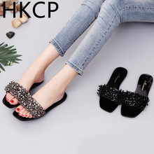 HKCP Fashion 2019 Slippers Female Summer New Outside Korean Flat Bottom Water Drill Square Head C129