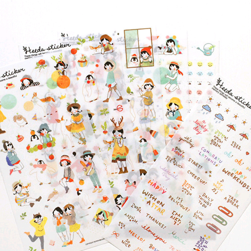 Book Planner Mobile Sticker 6 Sheets/set Korean Lovely Kawaii Girl Diary Scrapbook Calendar DIY Notebook Label Decoration