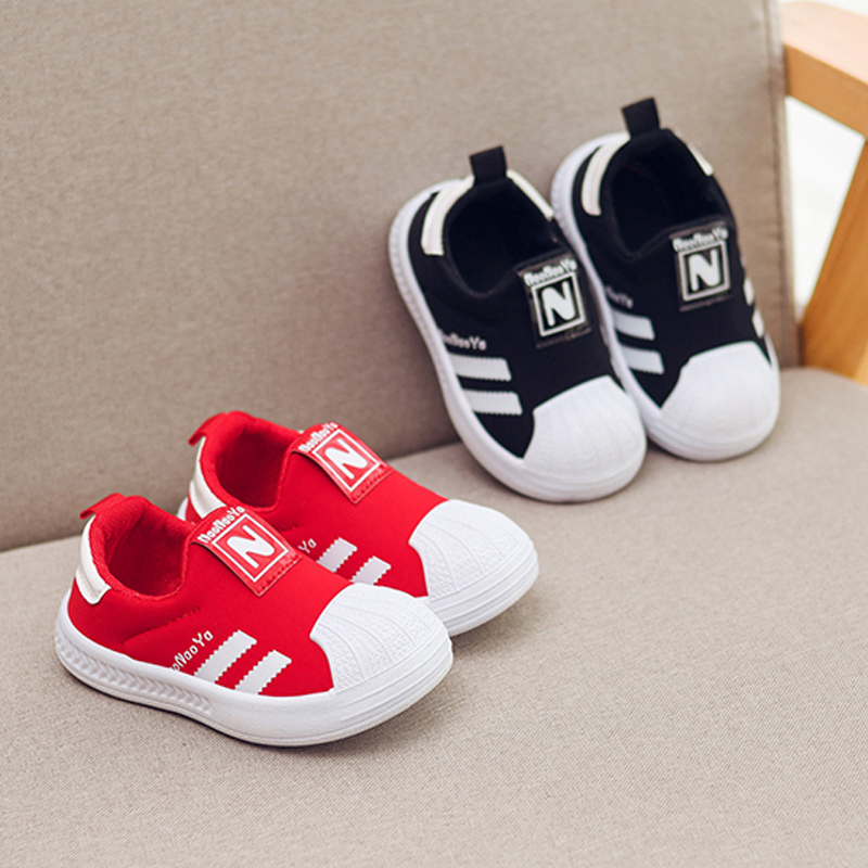 Fashion Shell Toe Children Shoes Boys Small Baby Striped Sneakers Girls New Spring Autumn Casual Toddler Kids Sport Shoes C07041