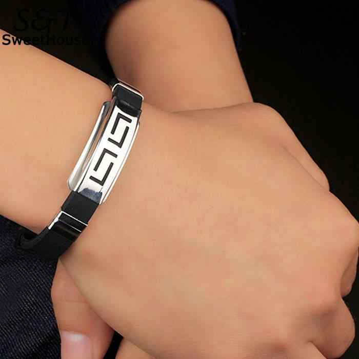 FANALA Bracelet Men Adjustable Punk Style Men Silicone Greek Key Wristband Cuff Bracelet Femme Armbanden Voor Vrouwen Bijoux