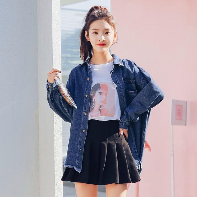 49fcf57b7a Camisa jeans Feminina de Manga Comprida Camisa Camisa de Brim Das Mulheres  Denim Blusa Clássico 2018