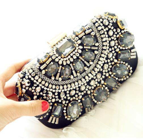 Free Shipping Retro Beaded Evening Bags Cool Handmade Beading Clutch Bags Glass Beads Satin Wedding Bags with Chain High Quality