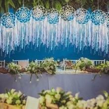Blue white Handmade home decoration hanging Macrame Tapestry Wedding Ceremony Backdrop Wall Art Pure cotton thread Boho curtain