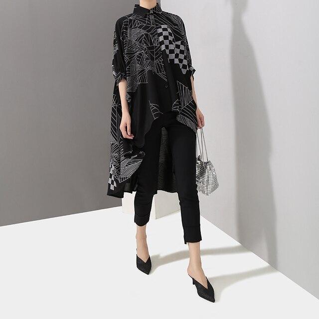 2019 Korean Women Summer Casual Black Tops Hipster Blouse Shirt Plus Size Batwings Sleeve Lines Print Feminine Shirt Blusas 4939 4