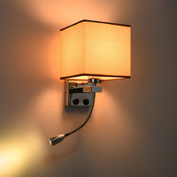 Modern Wall Lamps 1&2 pcs Hose Rocker Arm Led Reading Light Wall Sconce with Switch Reading Lighting Fabric Lampshade WLL 354