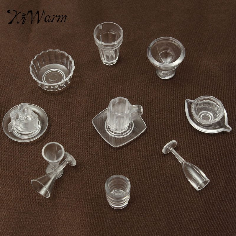 New 13Pcs/Set Doll House Cups Mini Plastic Miniatures Tableware Drink Wine Whisky Bottles Goblets Beer Plates Craft Kids Gifts