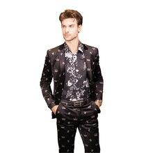 2016 new arrival High quality velvet printed suits men,one button casual men's suits, plus-size M,L,XL,XXL,XXXL,XXXXL