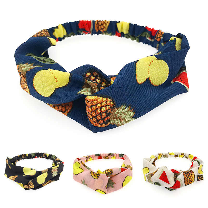 Women Hair Accessories Fashion Headband Fruit Cross Headband Bow Chiffon Floral Hair Band Korea Headdress Ladies Hoop
