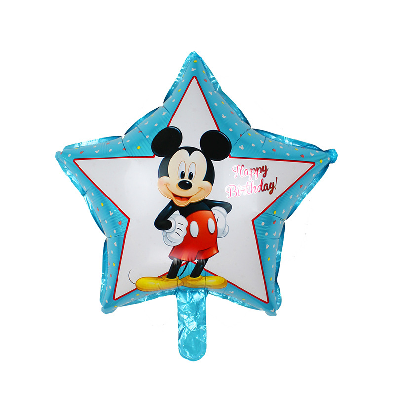 2pcs / lot Five Star Mickey Minnie Mouse Birthday Foil Balloons Kids Toys Birthday Party Decoration Helium Balloons