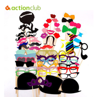 Actionclub Wedding Decoration 58Pcs Lot DIY Mask Photo Booth Props Mustache On A Stick Birthday Event