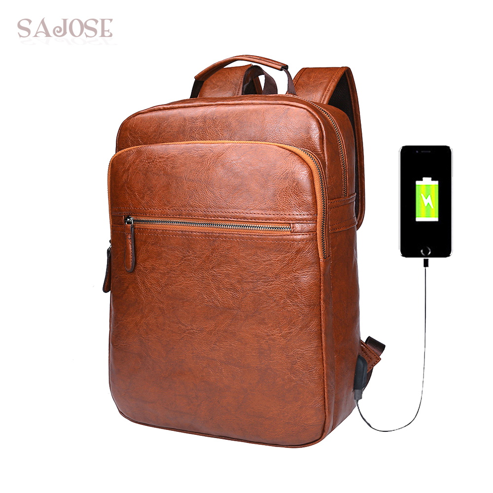 Large Capacity Brown Leather Men Backpack Promotion Solid Mens Laptop Backpack Leather USB Charging Travel Mochila