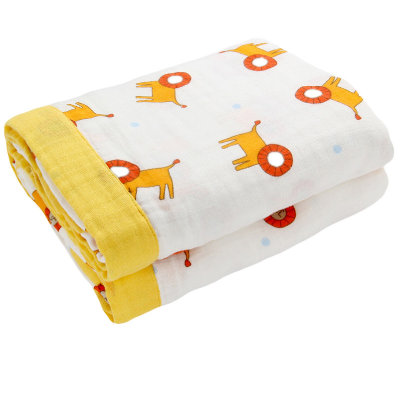 Baby Blanket Winter 4 Layers Thicken Warm muslin swaddle baby Cotton bedding Kids Soft Gauze Double sided printing Blanket